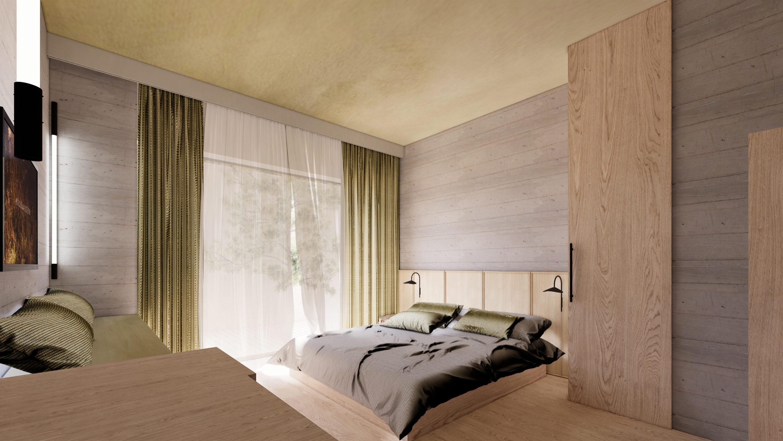 Doppelzimmer Design Rendering Haus Jausern, von Studio Riebenbauer