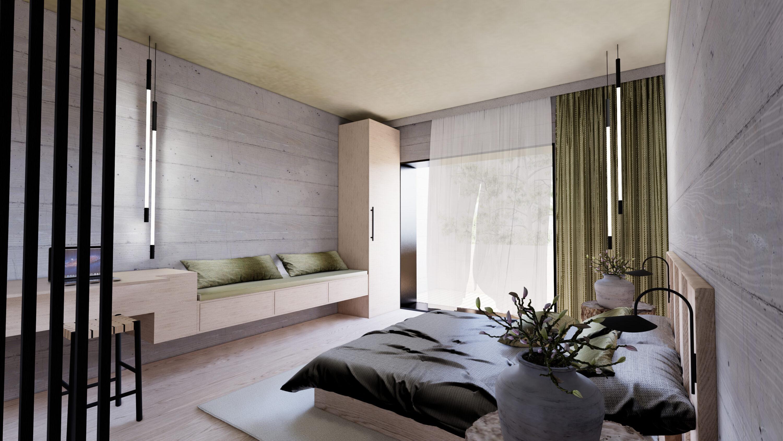 Avantgardist die neue Design Suite des Hotel Haus Jausern in Saalbach. Freiraum zum erleben und genießen der freistehenden Badewanne mit Bergblick. Großes Doppelzimmer für design Liebhaber.