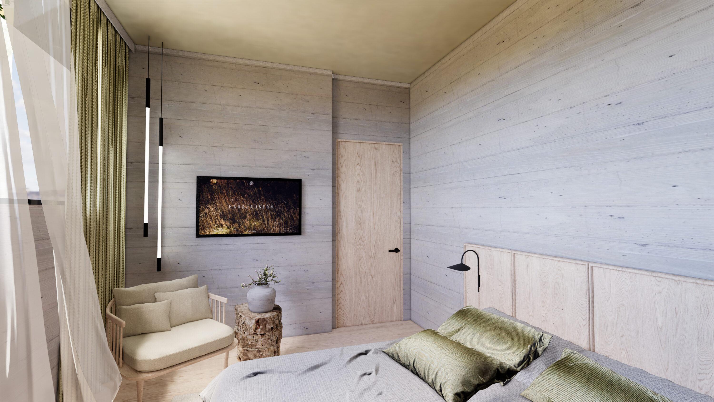 Raum hoch zwei die neue Design Family Suite mit natürlich, reduzierter Ausstattung. Die großen Familiensuiten im Design Hotel Haus Jausern Saalbach.
