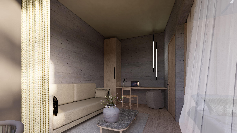 Raum Hoch zwei neue Familien Suiten mit getrennten Schlafzimmern. Designdetail, Rendering, Design Haus Jausern