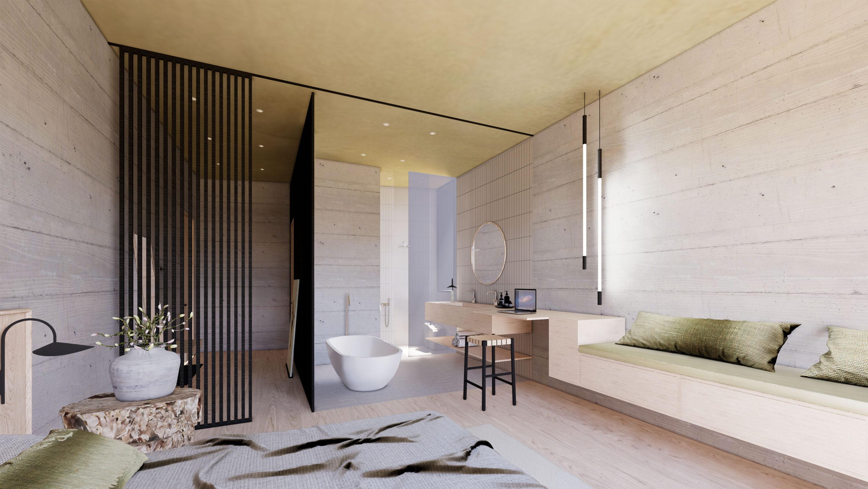 Avantgardist die neue Design Suite des Hotel Haus Jausern in Saalbach. Freiraum zum erleben und genießen der freistehenden Badewanne mit Bergblick.